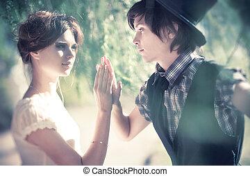 retrato, par, jovem, romanticos