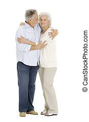 retrato, pareja, anciano, feliz