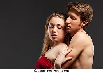 retrato, pareja, apasionado