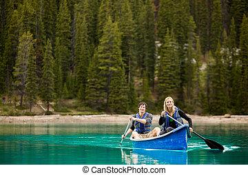 retrato, pareja, canoa