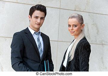 retrato, pareja., empresa / negocio, guapo