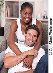 retrato, pareja, interracial