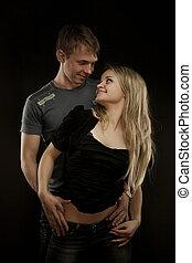retrato, pareja, joven