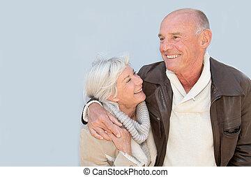 retrato, pareja mayor, feliz