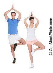 retrato, pareja, yoga