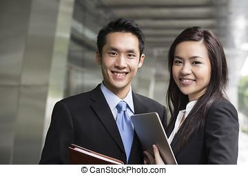 retrato, partners., negocio asiático
