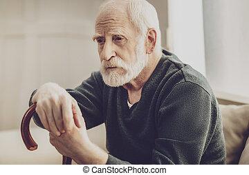 retrato, pensativo, homem, triste
