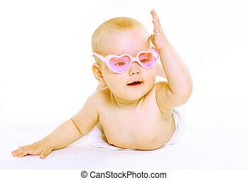 retrato, pequeno, bebê, em, cor-de-rosa, óculos