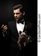 retrato, perro, carácter,  godfather-like, hombre