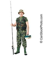 retrato, pescador, feliz