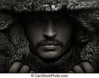 retrato, piel, joven, capucha, hombre
