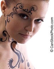 retrato, pintura, close-up, rosto mulher