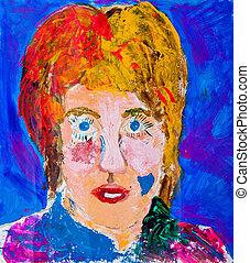 retrato, pintura, de, womens, cabeza