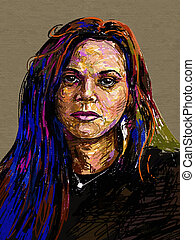 retrato, pintura, digital, original