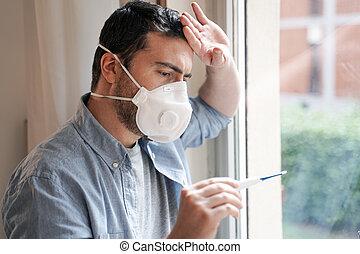 retrato, pneumonia, sufrimiento, gripe, hombre, síntomas