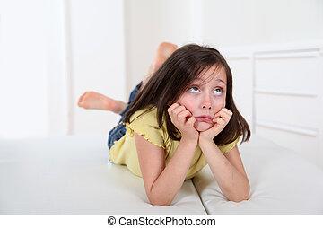 retrato, poco, aburrido, expresión, niña