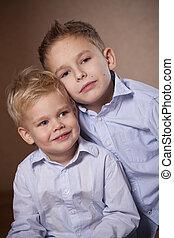 retrato, poco, dos, hermanos