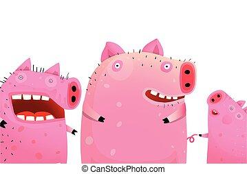 retrato, porcos, cute, três, engraçado