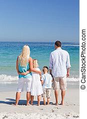 retrato, praia, família