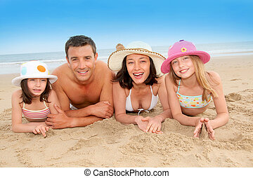 retrato, praia, família, feliz