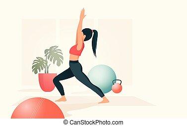 retrato, praticing, ioga, mulheres jovens