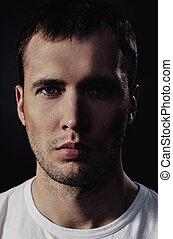retrato, primer plano, guapo, joven, hombre