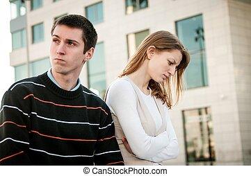 retrato, problema, -, pareja, relación