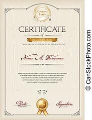 retrato, reconhecimento, certificado