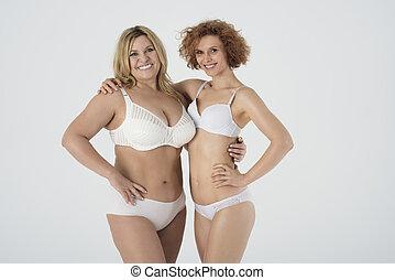 retrato, roupa interior, duas mulheres
