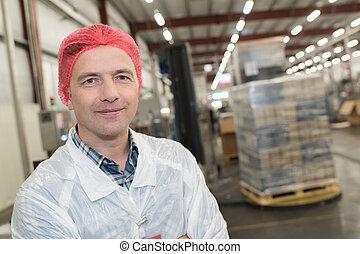 retrato, roupa, protetor, trabalhador, fábrica