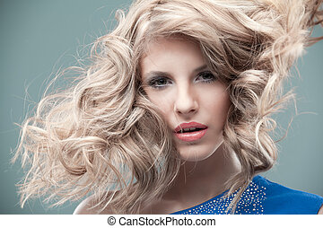 retrato, rubio, Moda, rizado