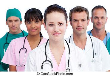retrato, sério, equipe médica