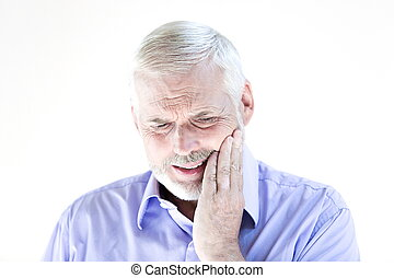 retrato, sênior, toothache, homem
