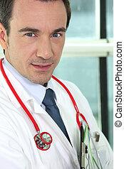 retrato, serious-looking, doutor