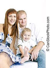 retrato, seu, pequeno, pais, filho