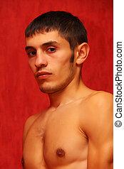 retrato, shirtless, jovem, muscular, homem