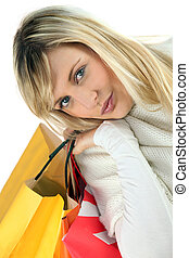 retrato, shopping mulher