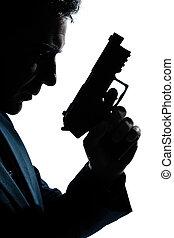 retrato, silueta, arma de fuego, hombre