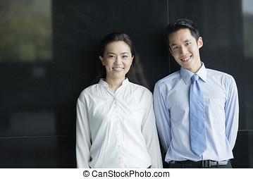retrato, socios, asiático, empresa / negocio