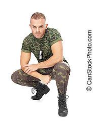 retrato, soldado, allanamiento, joven, ejército