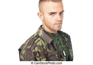 retrato, soldado, joven, ejército