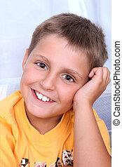 retrato, sonriente, boy., joven