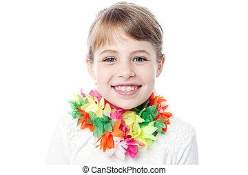 retrato, sonriente, joven, niño
