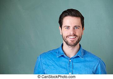 retrato, sorrindo, bonito, caucasiano, homem