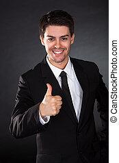 retrato, sorrindo, homem negócios