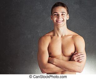 retrato, sorrindo, jovem, muscular, homem