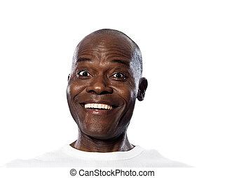retrato, sorrindo, surpreendido, homem