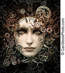 retrato, steampunk, cg, 3d