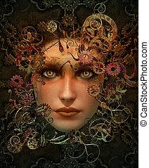 retrato, steampunk, cor, cg, 3d