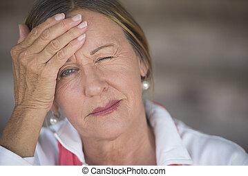 retrato, sufrimiento, mujer, dolor de cabeza